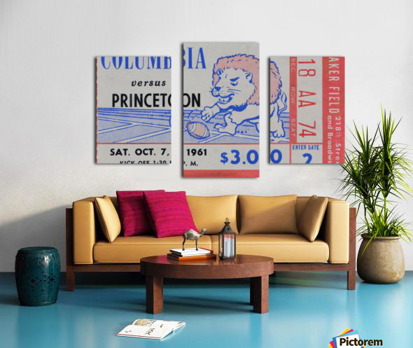 1961 Columbia vs. Princeton Ticket Stub Art Canvas print