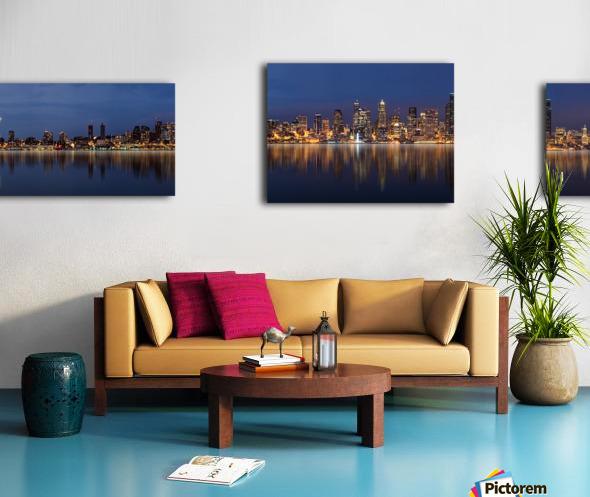 Seattle Skyline Panorama at Night Canvas print