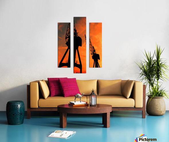 Sunset port tower cranes Canvas print