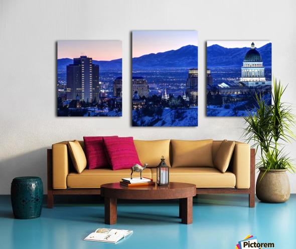 Utah State Capitol Sunset Salt Lake City Government Architecture Photography Historic Lights Night Fine Art Photo Print  Wall Decor Canvas print