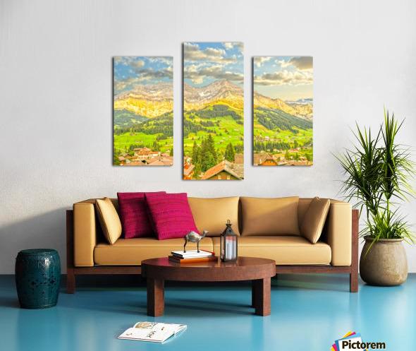 Golden Rays in the Mountains Alpine Village Switzerland Canvas print