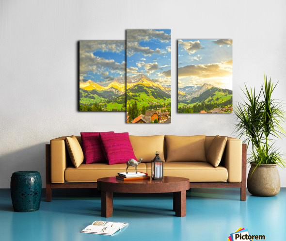 Golden Rays Across The Swiss Alps with Waterfalls Canvas print