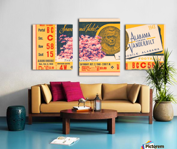 1948 Vanderbilt vs. Alabama Ticket Art Canvas print