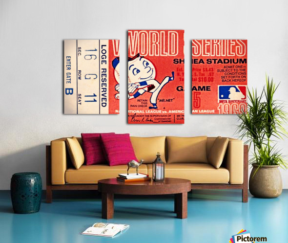 1969 New York Mets Game 5 Ticket Art Impression sur toile