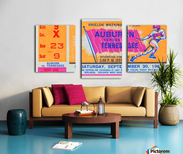 1961 Tennessee vs. Auburn Football Ticket Art Canvas print