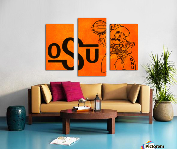 1985 Oklahoma State OSU Cowboys Pistol Pete Basketball Art Canvas print