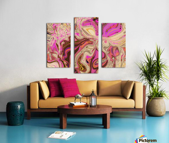 Paint Pour Tan and Pink Canvas print