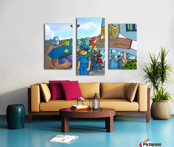At the Police Department - Places in Bugville Collection 3 of 4 Canvas print
