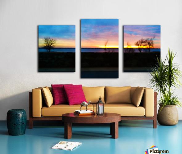 lake sunset 4 trees Canvas print