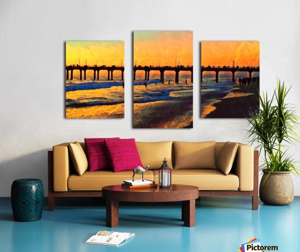 manhattan beach sunset art Canvas print