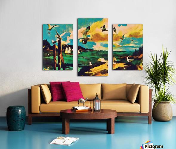 gulls laurence sisson maine art remix Canvas print