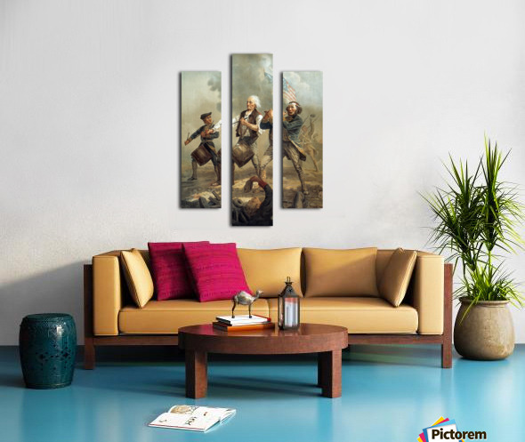 A painting of three men marching through a battle scene Canvas print