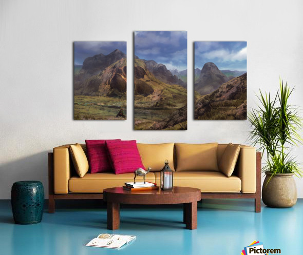 Landscape with giant skull Canvas print