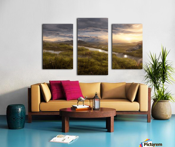 Landscape with river 1 Canvas print