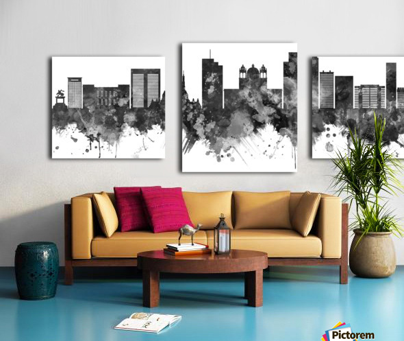 San Salvador Skyline BW Canvas print
