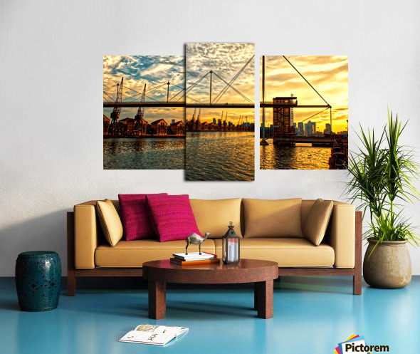 Amazing Sunset over river Canvas print