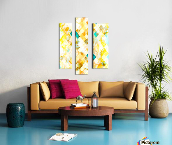 geometric pixel square pattern abstract in yellow brown blue Canvas print