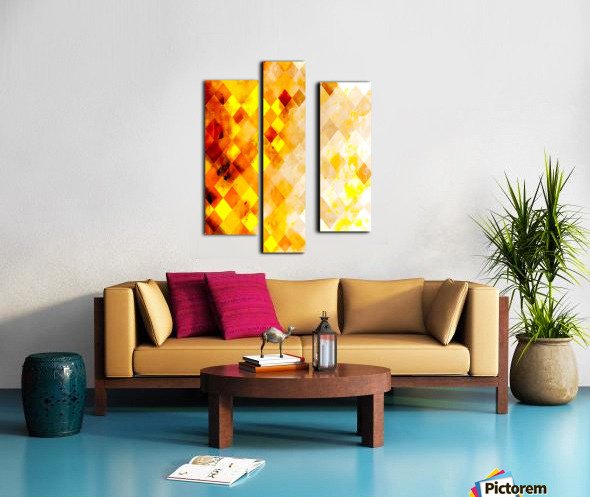 geometric pixel square pattern abstract in brown and yellow Canvas print