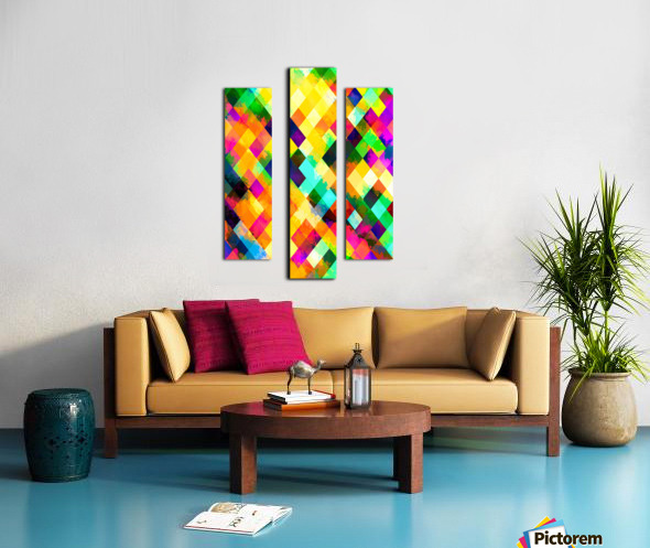 geometric square pixel pattern abstract background in yellow blue green pink orange Canvas print