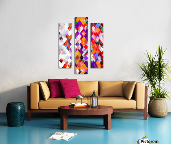 colorful geometric square pixel pattern abstract art in orange red purple Canvas print