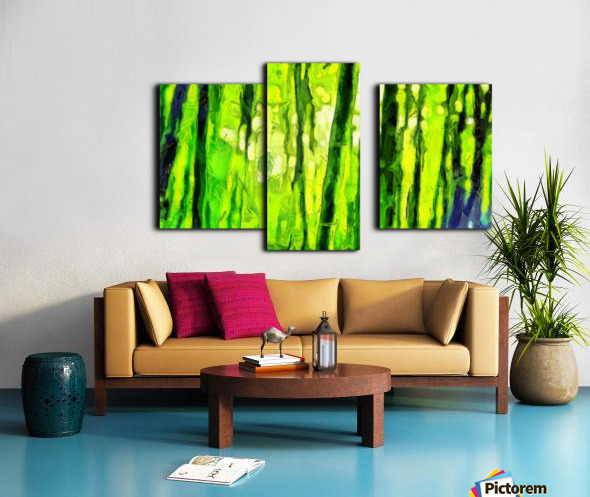 Bamboo forest oil painting inVincent Willem van Goghstyle. 3.  Canvas print