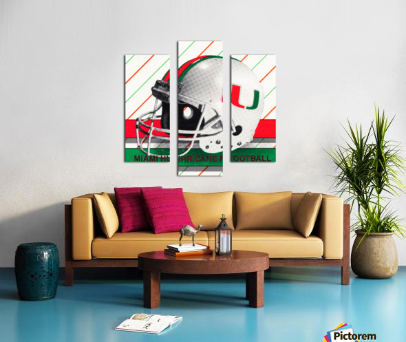 Retro Miami Hurricane Football Helmet Art Canvas print