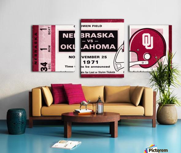 1971 Oklahoma Sooners vs. Nebraska Cornhuskers Remix Canvas print