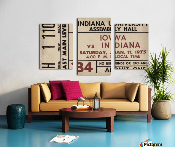 1975 Indiana vs. Iowa Basketball Ticket Metal Sign Canvas print