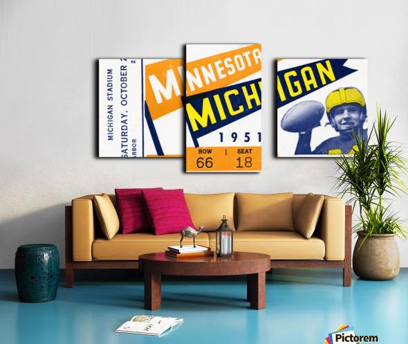 1951 Michigan vs. Minnesota Football Ticket Art Canvas print
