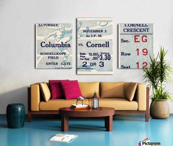 1935 Columbia vs. Cornell Football Ticket Art Canvas print