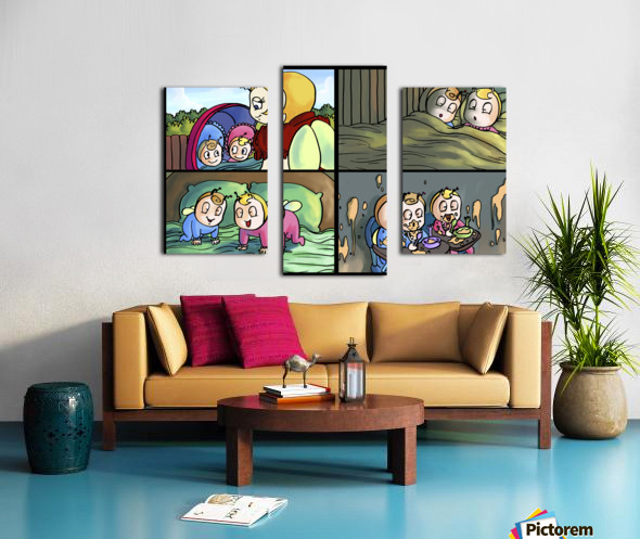 Mom and the Twins - 4 panel Favorites for Kids Room and Nursery - Bugville Critters Canvas print
