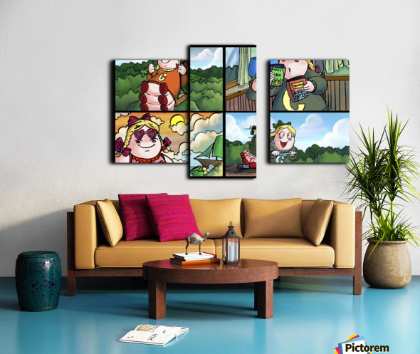 Cat the Caterpillar in Action   4 panel Favorites for Kids Room and Nursery   Bugville Critters Canvas print