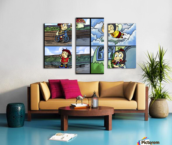 Buster the Bee in Action   4 panel Favorites for Kids Room and Nursery   Bugville Critters Canvas print