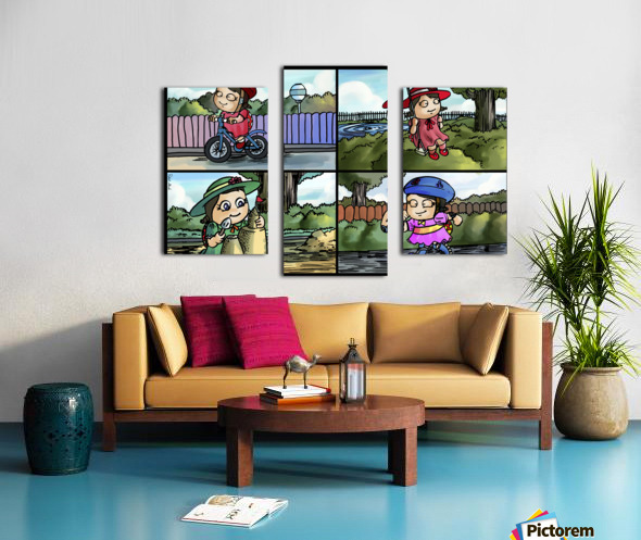 Lass the Ladybug in Action   4 panel Favorites for Kids Room and Nursery   Bugville Critters Canvas print