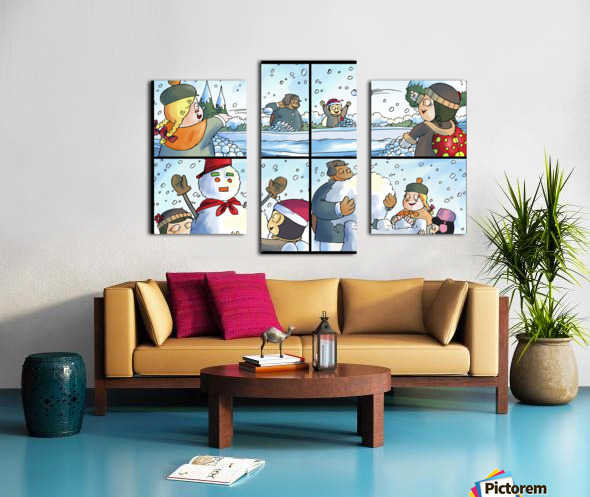Winter Wonderland Fun   Snowballs  Snowforts and Snowman   4 panel Favorites for Kids Room and Nursery   Bugville Critters Canvas print