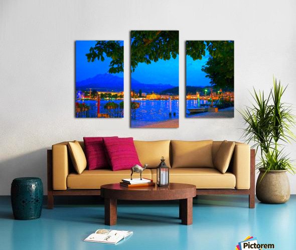 City Lights over Lake Lucerne Switzerland Canvas print