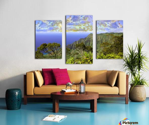 Sunset at Puu O Kila Lookout Kohala Mountains on the Island of Kauai in Hawaii Panorama Canvas print