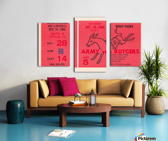 1965 Army vs. Rutgers Football Ticket Art Canvas print