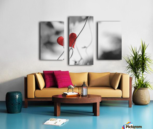 Red heart shaped leaf Canvas print