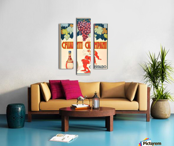 Original Vintage 1940 Advertising Poster For Chianti Campani Canvas print