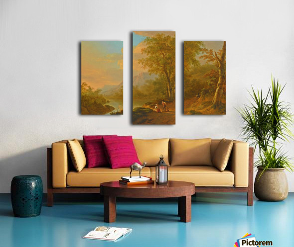 Travellers in a river landscape Canvas print