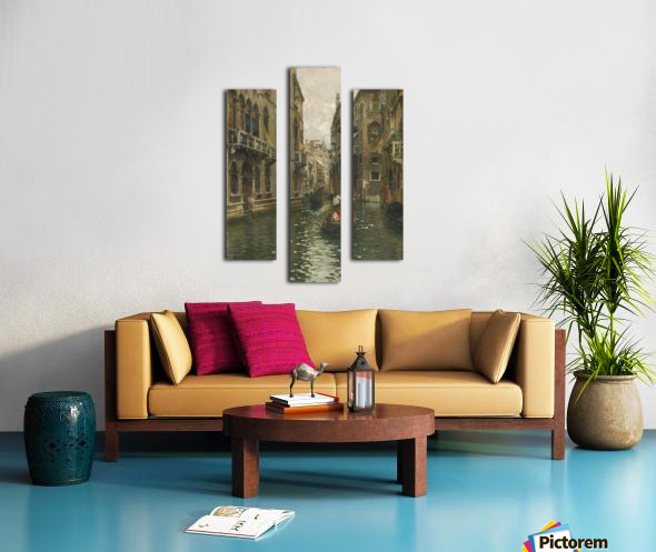 A family outing on a Venetian canal Canvas print