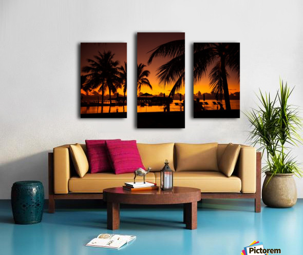 Palm trees silhouette on sunset tropical beach Canvas print