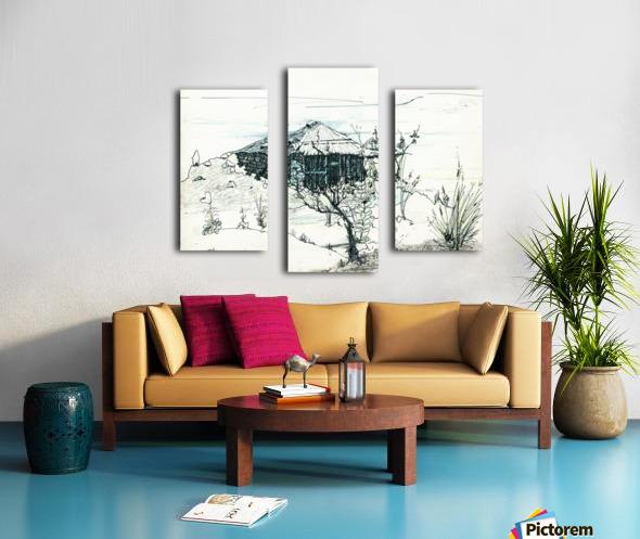 Hut on hill Canvas print