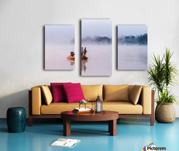 Fishing on Foggy Lake Canvas print