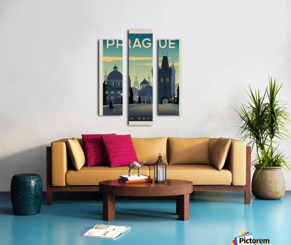 Prague vintage travel poster Canvas print