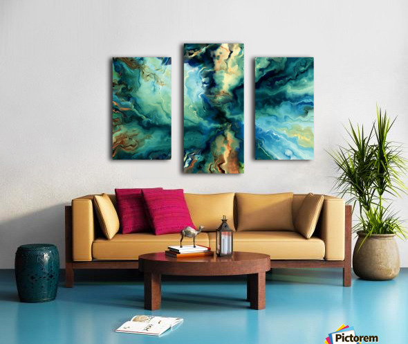 Oil Painting Abstract Color Line Wave Design Canvas print