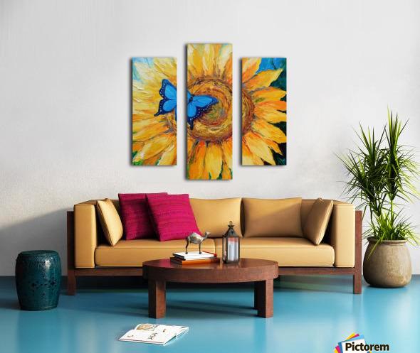 Подсолнух и бабочка Canvas print