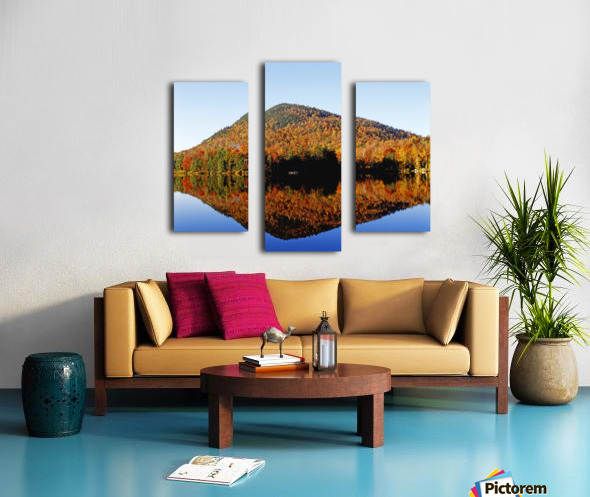 Autumn Colours Reflected In Water, Eastern Townships, Quebec, Canada Canvas print