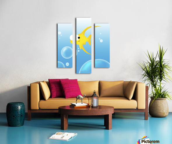 Illustration Of Fish And Bubbles Canvas print